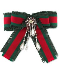 Gucci - Web Bow Brooch - Lyst