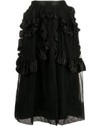 Simone Rocha Ruffled Mesh Skirt - Black