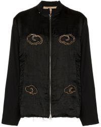 By Walid - Distressed Detail Embellished Bomber Jacket - Lyst