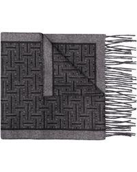 Brioni Écharpe à motif monogrammé - Noir