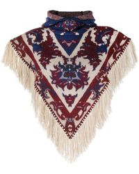 Paco Rabanne Fringed Knit Poncho Scarf - Red