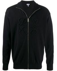 Loewe Logo Appliquée Zipped Cardigan - Black