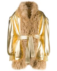 Miu Miu Faux-fur Trimmed Jacket - Multicolour