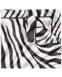 Roberto Cavalli Zebra Stripe Scarf - White