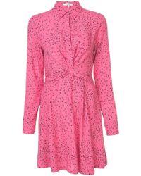 Ganni - Leaf Print Wrap Dress - Lyst