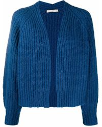 ODEEH Ribbed Knit Open-front Cardigan - Blue