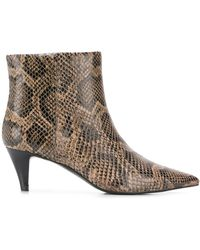 Ash Snake-effect Ankle Boots - Brown
