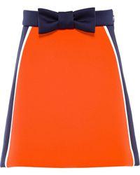 Miu Miu リボン カラーブロック スカート - オレンジ