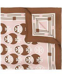 Tory Burch モノグラム シルクスカーフ - ピンク