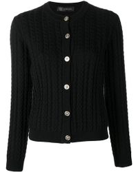 Versace - Cable-knit Slim Cardigan - Lyst