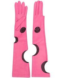 Manokhi Длинные Перчатки С Вырезами - Розовый