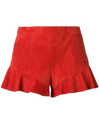 DROMe Shorts con dobladillo con volantes - Rojo