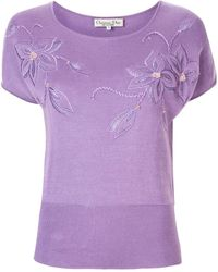 Dior Pre-owned Floral Embroidered T-shirt - Purple