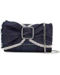Casadei - Denim Bow Clutch - Lyst