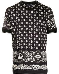 Dolce & Gabbana T-shirt Met Bandana Print - Zwart