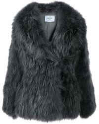 Prada Oversized Fur Coat - Grey