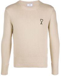 AMI Men Ami De Coeur Embroidery Crew Neck Sweater - ナチュラル