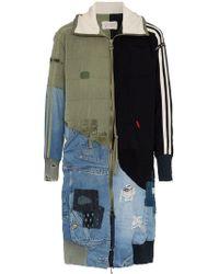 Greg Lauren - Patchwork Hooded Cotton Wool Blend Coat - Lyst