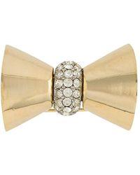 Dior 1980s Embellished Bow Brooch - Metallic