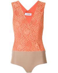 Olympiah Кружевное Боди Petale - Оранжевый
