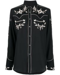 Polo Ralph Lauren Floral Embroidered Western Shirt - Black