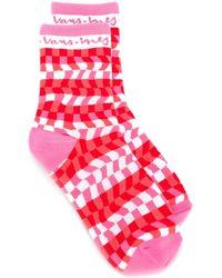 Vans Warped Checkerboard Socks - Pink