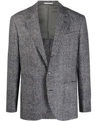 Brunello Cucinelli チェック シングルジャケット - グレー