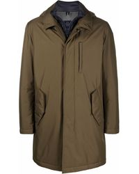 Fay Concealed-front Hooded Parka - Green