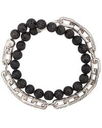 John Hardy - Silver Classic Chain Volcanic Bead Double Wrap Bracelet With Hook Clasp - Lyst