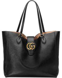 Gucci Сумка-тоут Среднего Размера С Логотипом Double G - Черный