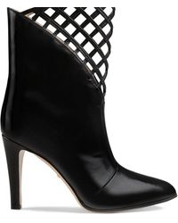 Gucci Cutout Leather Ankle Boot - Black