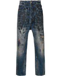 Paura Distressed Straight-cut Jeans - ブルー