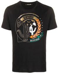 Roberto Cavalli Футболка С Тисненым Логотипом - Черный