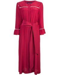Vanessa Seward Belted Shirt Dress - Red
