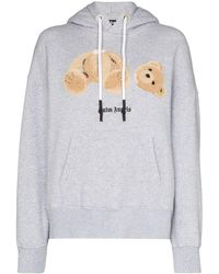 Palm Angels Bear Embroidered Hoodie - Grey