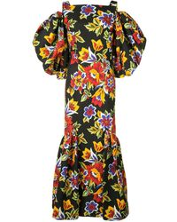 Carolina Herrera Cold Shoulder Floral Dress - Black