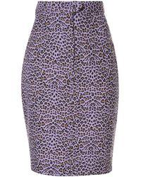Bambah Leopard Print Skirt - Purple