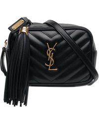 Saint Laurent Quilted Logo Detail Leather Belt Bag - Black