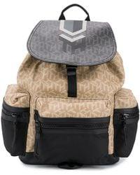 Tommy Hilfiger Monogram Flap Backpack - Black