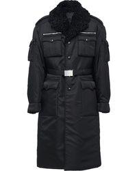 Prada Shearling Collar Military Coat - Black