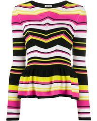 Liu Jo Fitted Striped Knitted Cardigan - Black