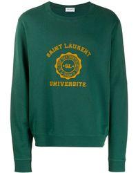 Saint Laurent University Print Cotton Sweatshirt - Green