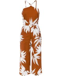 Andrea Marques Fern Print Jumpsuit - Brown