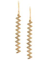 Jennifer Meyer Pendientes con zigzag en oro amarillo de 18 kt y diamantes