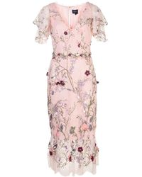 Marchesa notte フローラル ドレス - ピンク