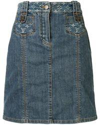 Louis Vuitton モノグラム デニムスカート - ブルー