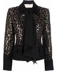 Elie Saab Sequined Pussy Bow-collar Jacket - Black