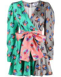 MSGM Платье С Цветочным Принтом - Серый