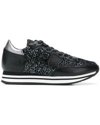 Philippe Model - Glitter-panelled Sneakers - Lyst
