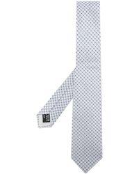 Giorgio Armani Cravate à motif géométrique - Bleu